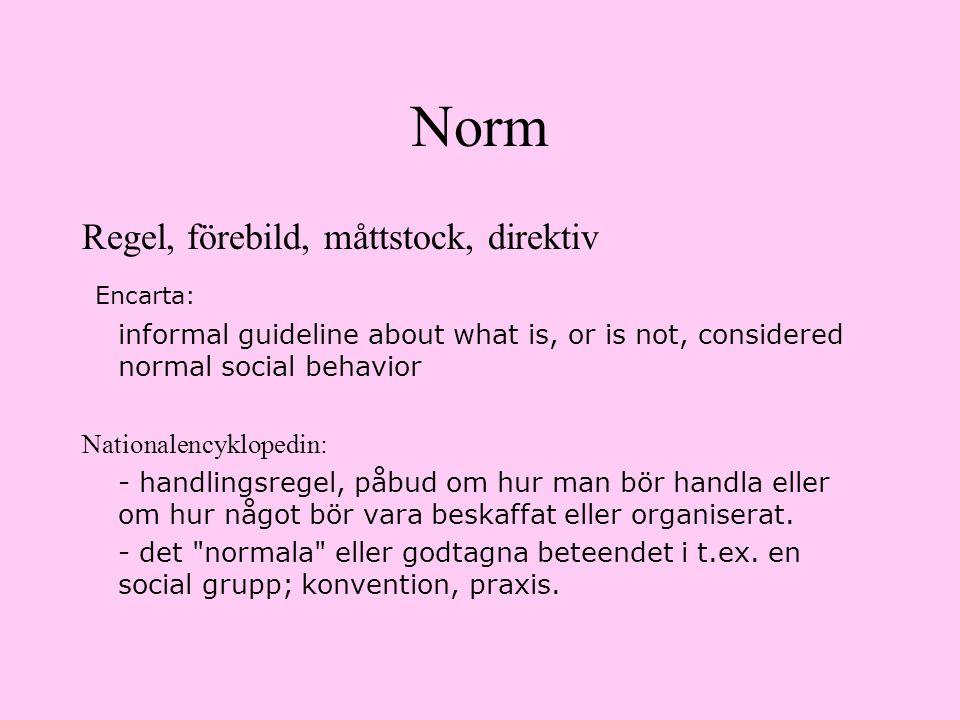 Norm Regel, förebild, måttstock, direktiv Encarta: