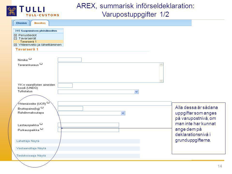 AREX, summarisk införseldeklaration: Varupostuppgifter 1/2