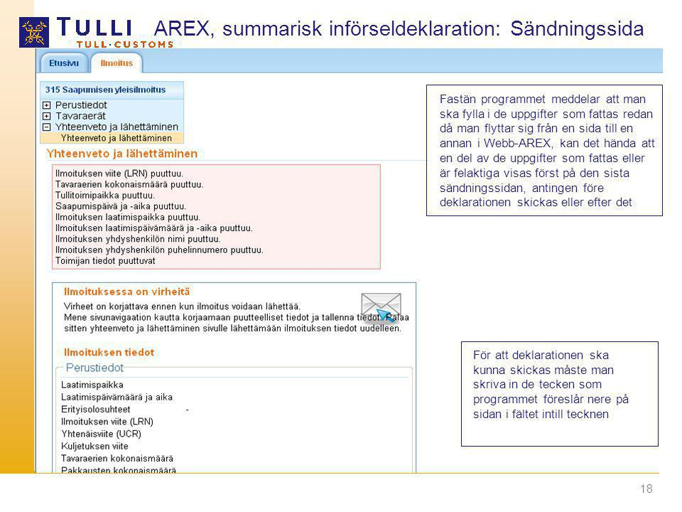 AREX, summarisk införseldeklaration: Sändningssida