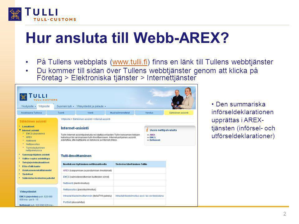 Hur ansluta till Webb-AREX