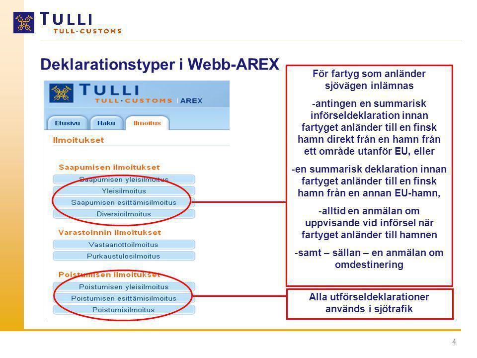 Deklarationstyper i Webb-AREX