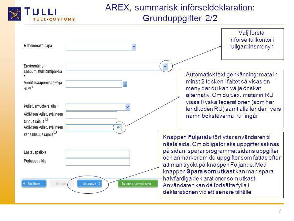 AREX, summarisk införseldeklaration: Grunduppgifter 2/2