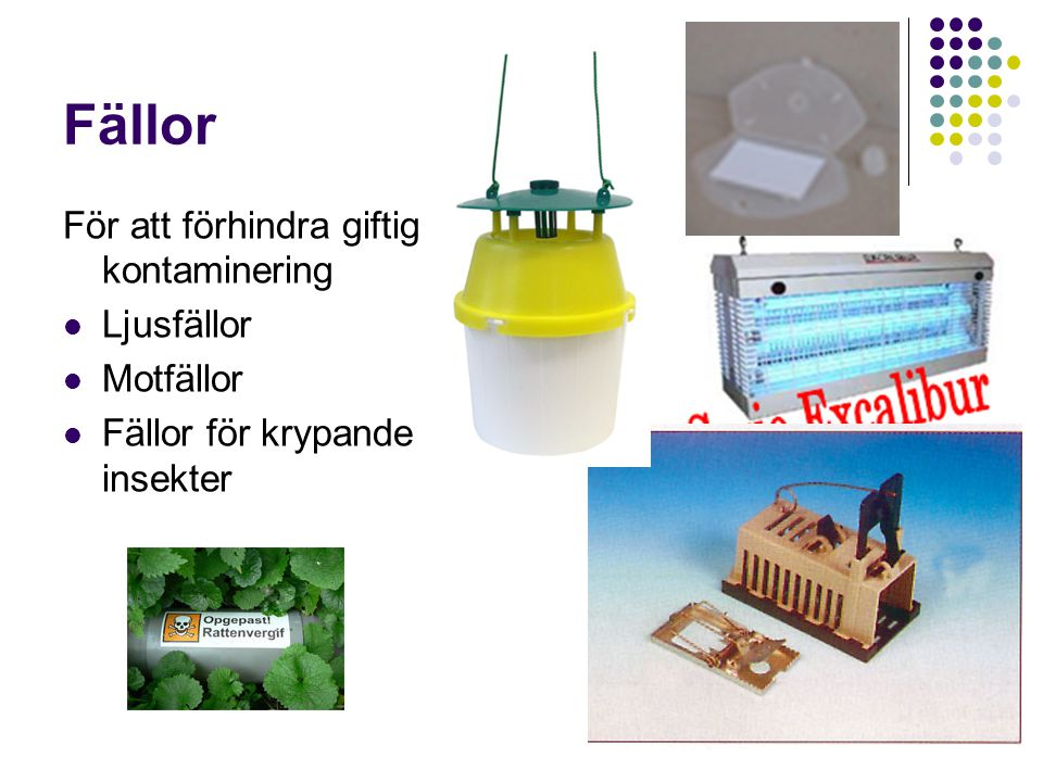 Fällor För att förhindra giftig kontaminering Ljusfällor Motfällor