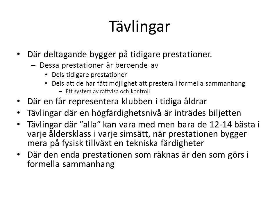 Tävlingar Där deltagande bygger på tidigare prestationer.