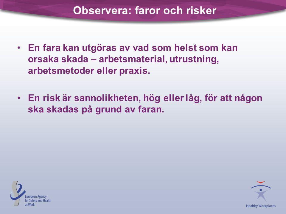 Observera: faror och risker