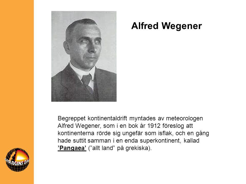 Alfred Wegener Begreppet kontinentaldrift myntades av meteorologen