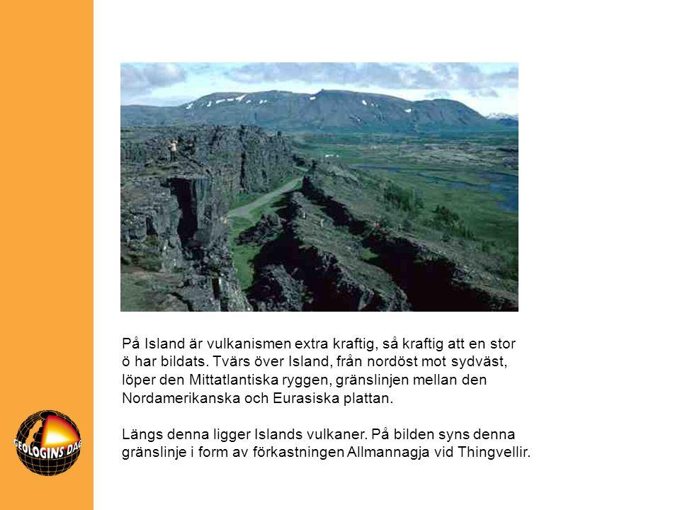 På Island är vulkanismen extra kraftig, så kraftig att en stor ö har bildats. Tvärs över Island, från nordöst mot sydväst, löper den Mittatlantiska ryggen, gränslinjen mellan den Nordamerikanska och Eurasiska plattan.