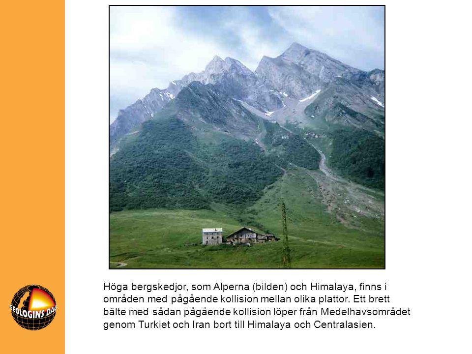 Höga bergskedjor, som Alperna (bilden) och Himalaya, finns i områden med pågående kollision mellan olika plattor.