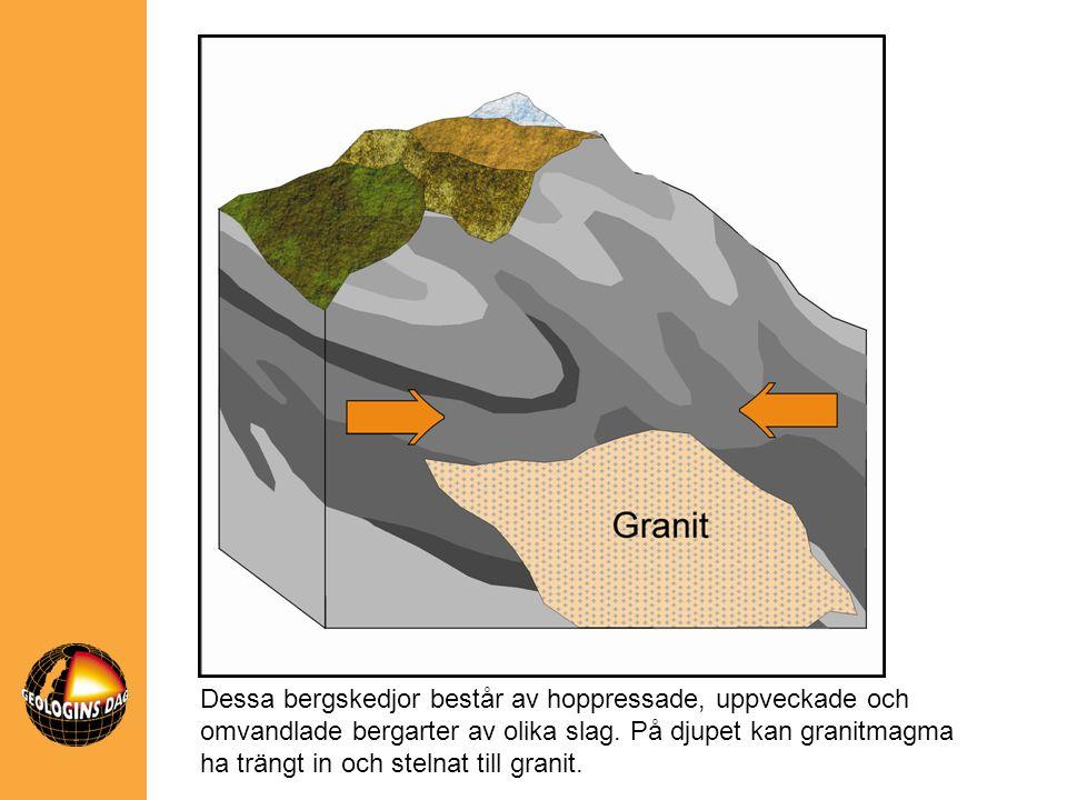 Dessa bergskedjor består av hoppressade, uppveckade och omvandlade bergarter av olika slag.