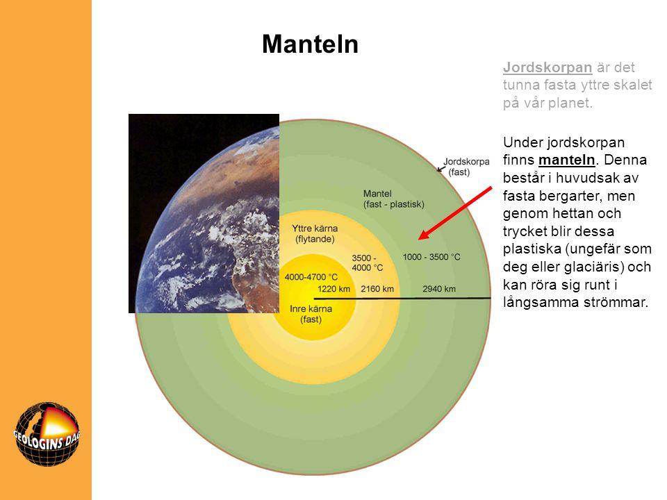 Manteln Jordskorpan är det tunna fasta yttre skalet på vår planet.