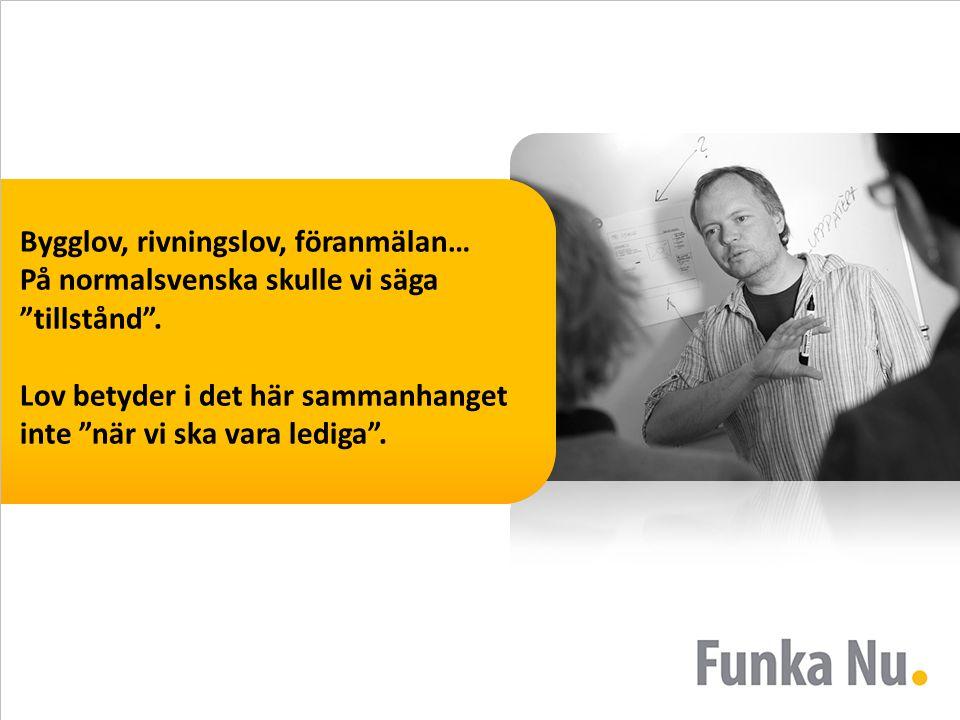 Bygglov, rivningslov, föranmälan… På normalsvenska skulle vi säga tillstånd .