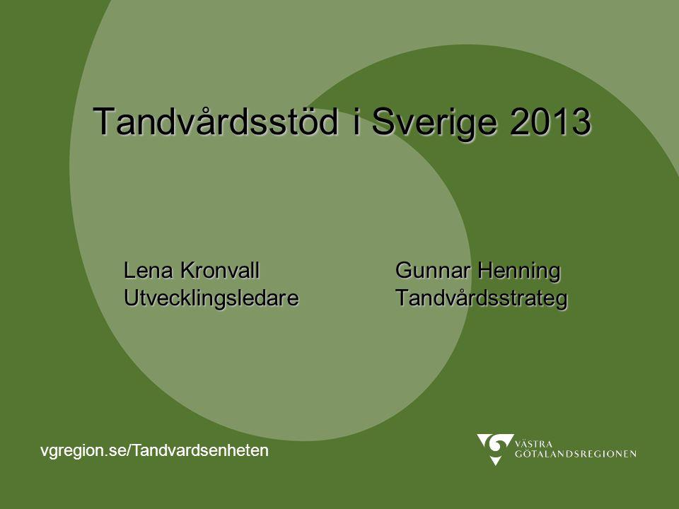 Tandvårdsstöd i Sverige 2013 Lena Kronvall
