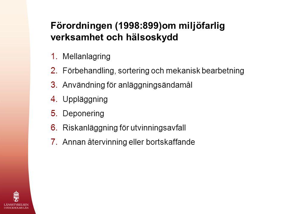Förordningen (1998:899)om miljöfarlig verksamhet och hälsoskydd