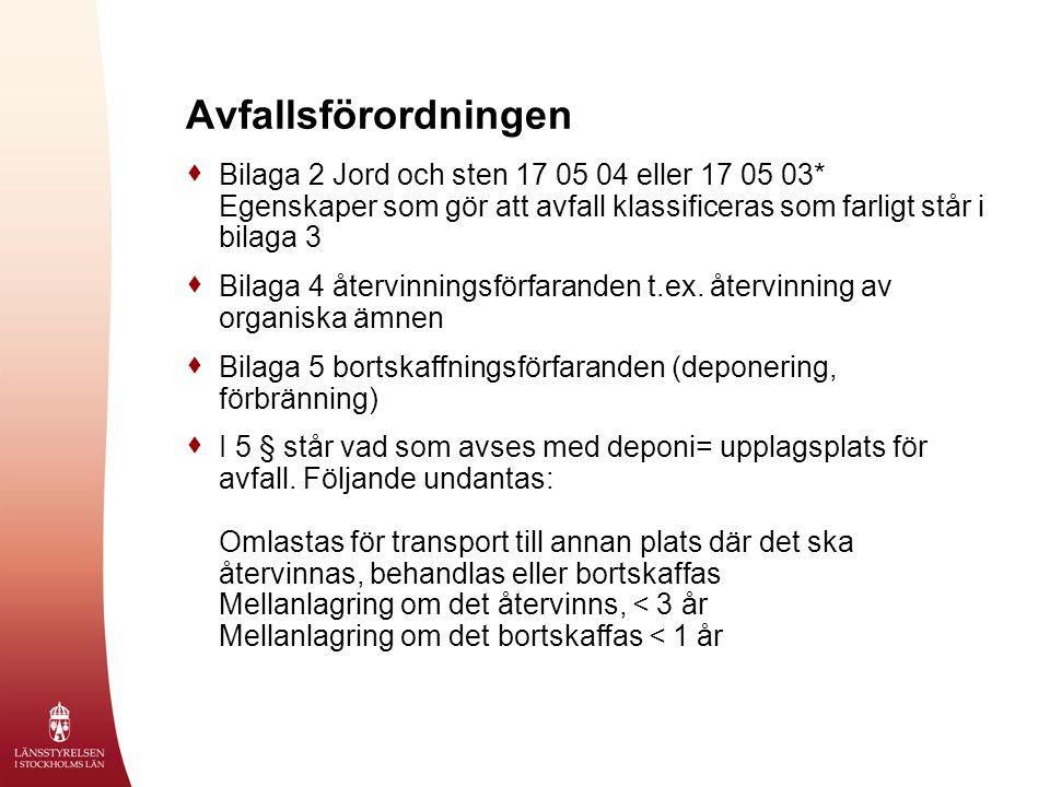 Avfallsförordningen Bilaga 2 Jord och sten 17 05 04 eller 17 05 03* Egenskaper som gör att avfall klassificeras som farligt står i bilaga 3.
