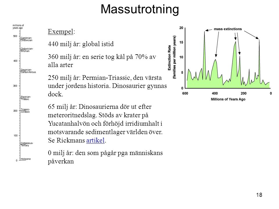 Massutrotning Exempel: 440 milj år: global istid