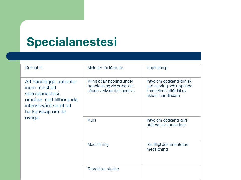 Specialanestesi Delmål 11. Metoder för lärande. Uppföljning.
