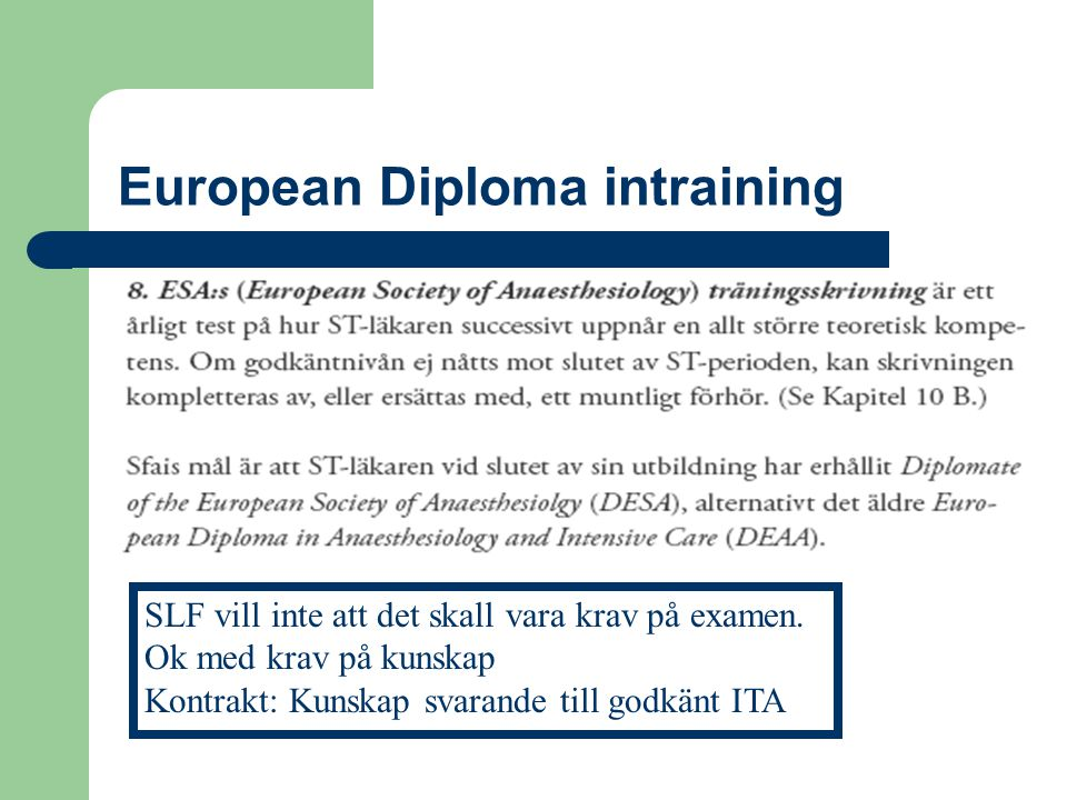 European Diploma intraining