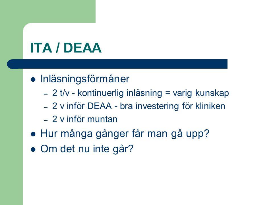 ITA / DEAA Inläsningsförmåner Hur många gånger får man gå upp
