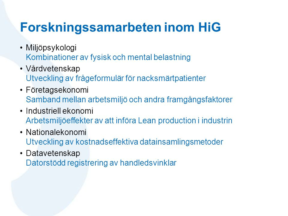 Forskningssamarbeten inom HiG