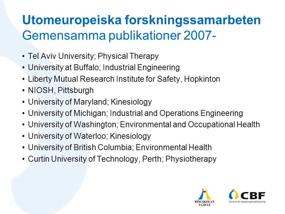 Utomeuropeiska forskningssamarbeten Gemensamma publikationer 2007-