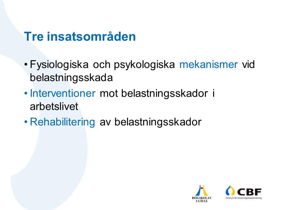 Tre insatsområden Fysiologiska och psykologiska mekanismer vid belastningsskada. Interventioner mot belastningsskador i arbetslivet.