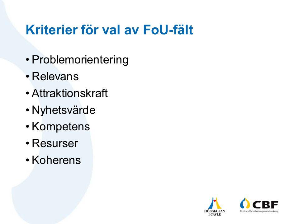 Kriterier för val av FoU-fält