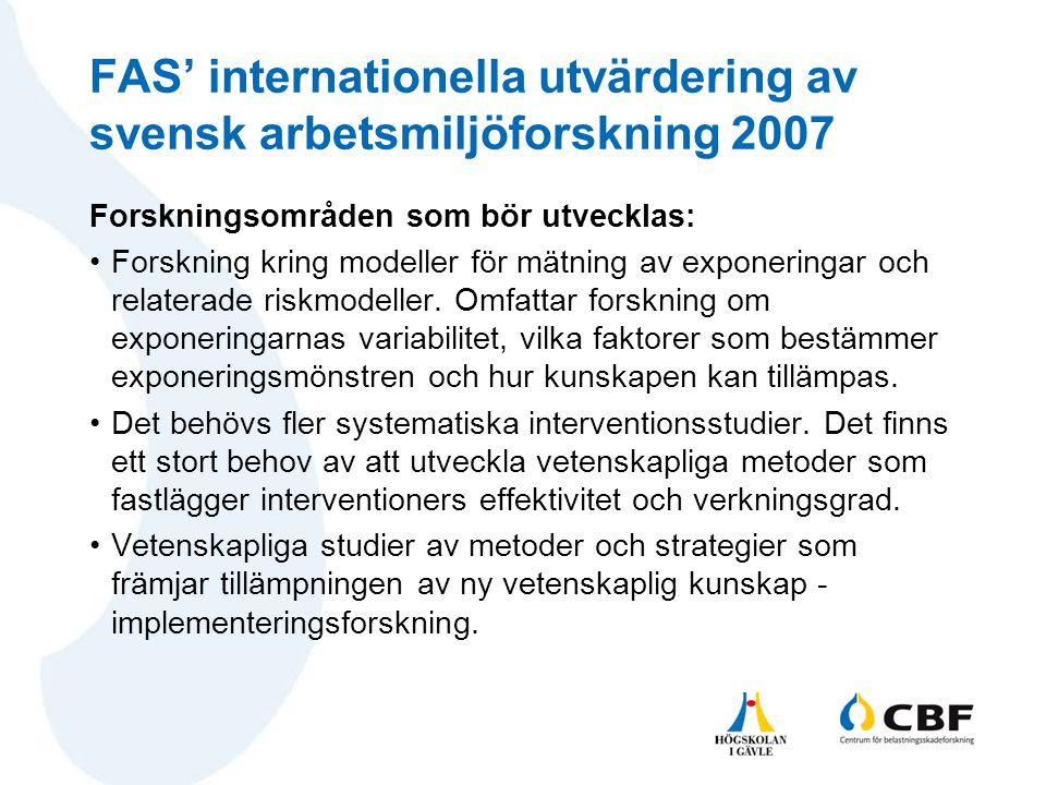 FAS' internationella utvärdering av svensk arbetsmiljöforskning 2007
