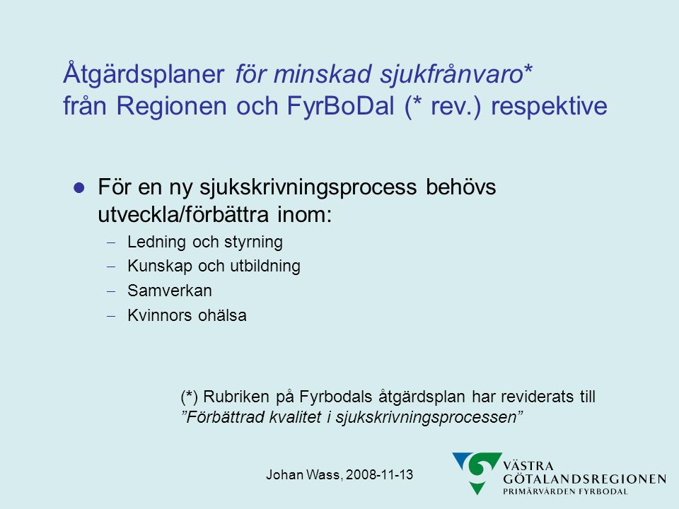 Åtgärdsplaner för minskad sjukfrånvaro. från Regionen och FyrBoDal (