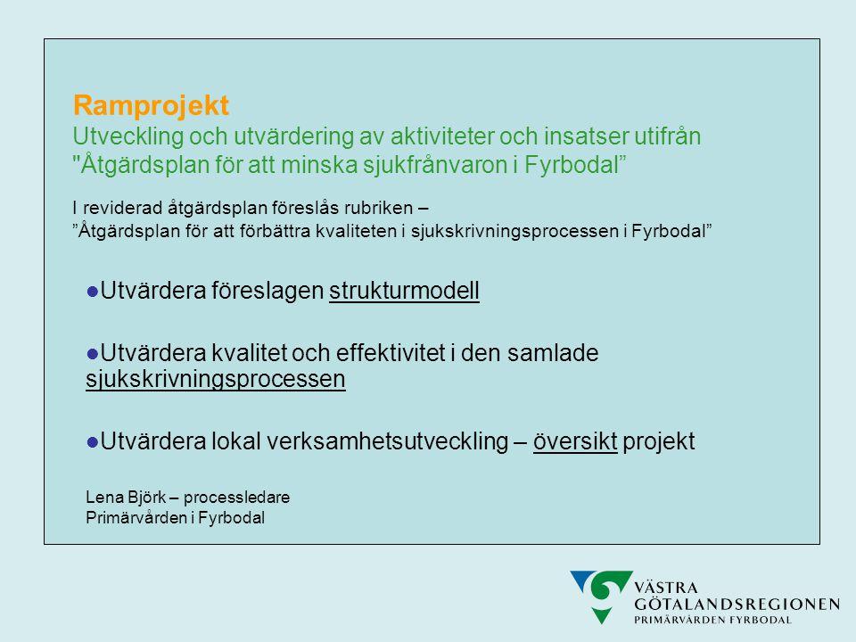Ramprojekt Utveckling och utvärdering av aktiviteter och insatser utifrån Åtgärdsplan för att minska sjukfrånvaron i Fyrbodal I reviderad åtgärdsplan föreslås rubriken – Åtgärdsplan för att förbättra kvaliteten i sjukskrivningsprocessen i Fyrbodal