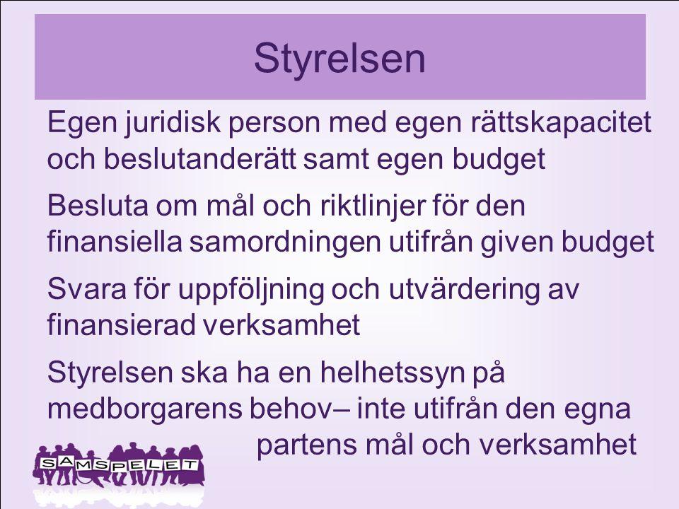 Styrelsen Egen juridisk person med egen rättskapacitet och beslutanderätt samt egen budget.