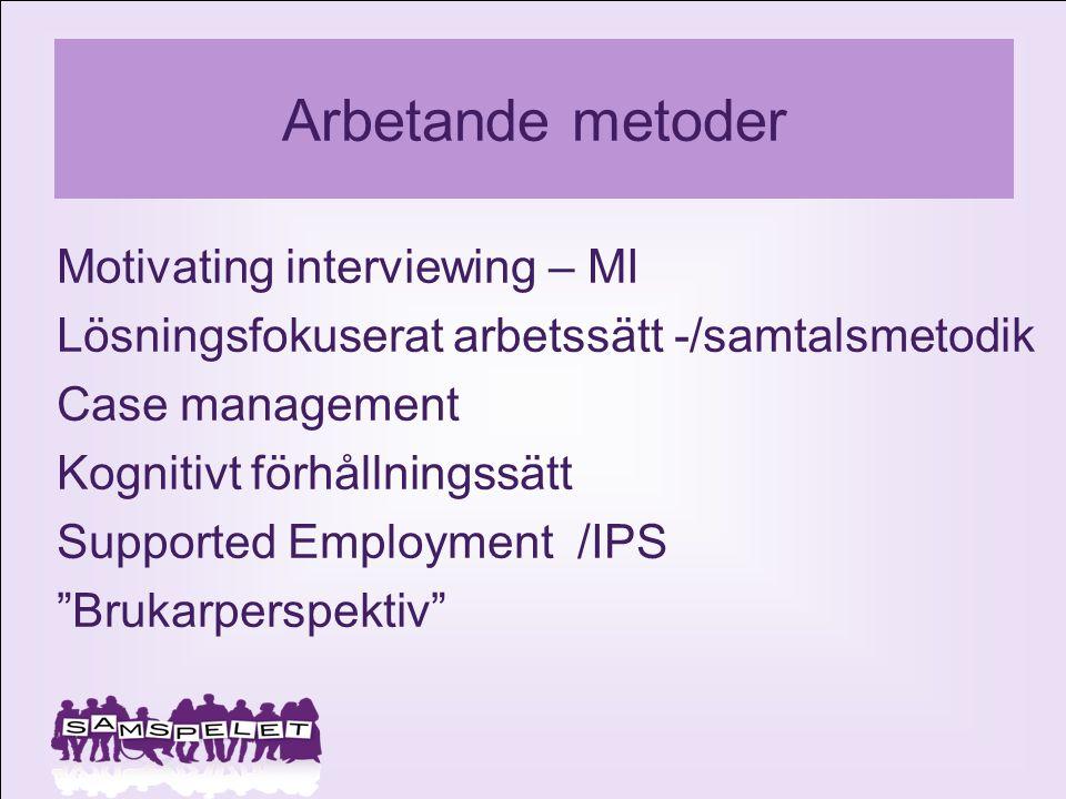 Arbetande metoder Motivating interviewing – MI