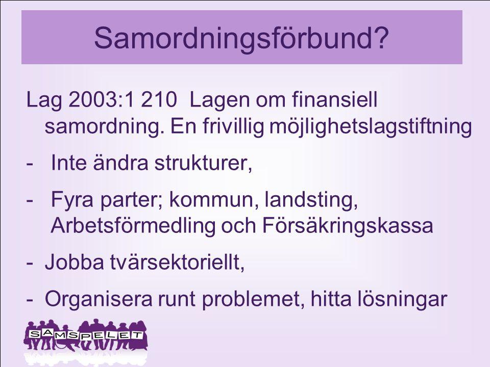 Samordningsförbund Lag 2003:1 210 Lagen om finansiell samordning. En frivillig möjlighetslagstiftning.