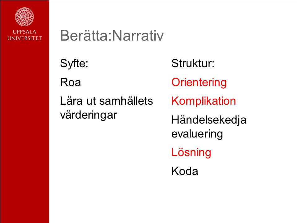 Berätta:Narrativ Syfte: Roa Lära ut samhällets värderingar Struktur: