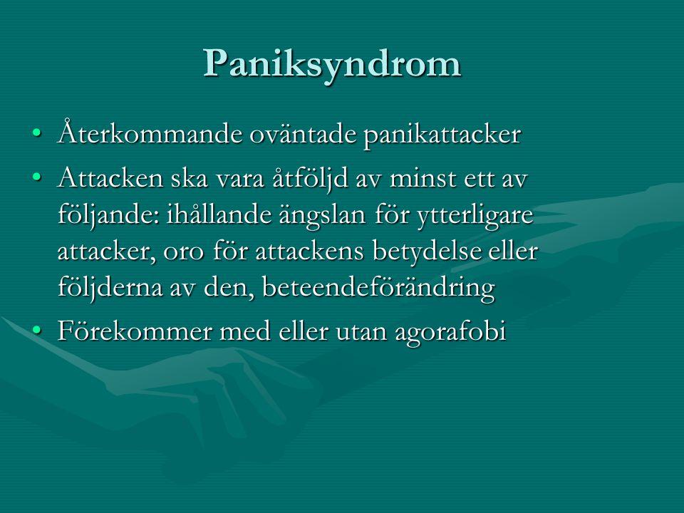 Paniksyndrom Återkommande oväntade panikattacker