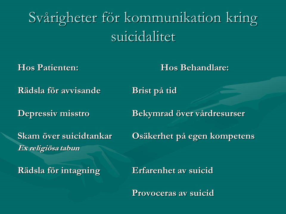 Svårigheter för kommunikation kring suicidalitet