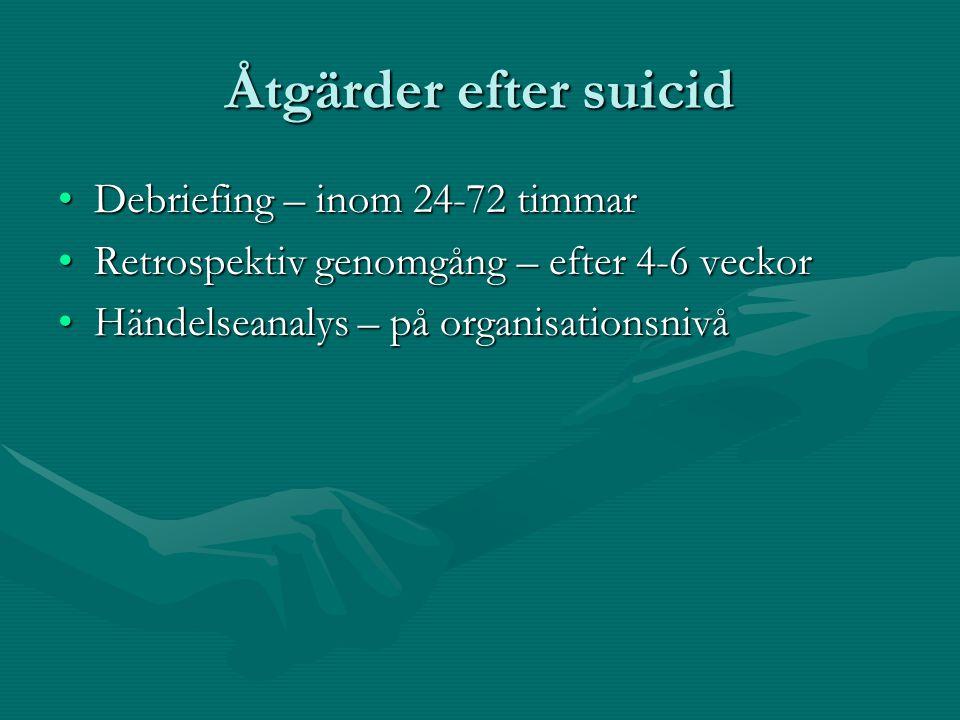 Åtgärder efter suicid Debriefing – inom 24-72 timmar