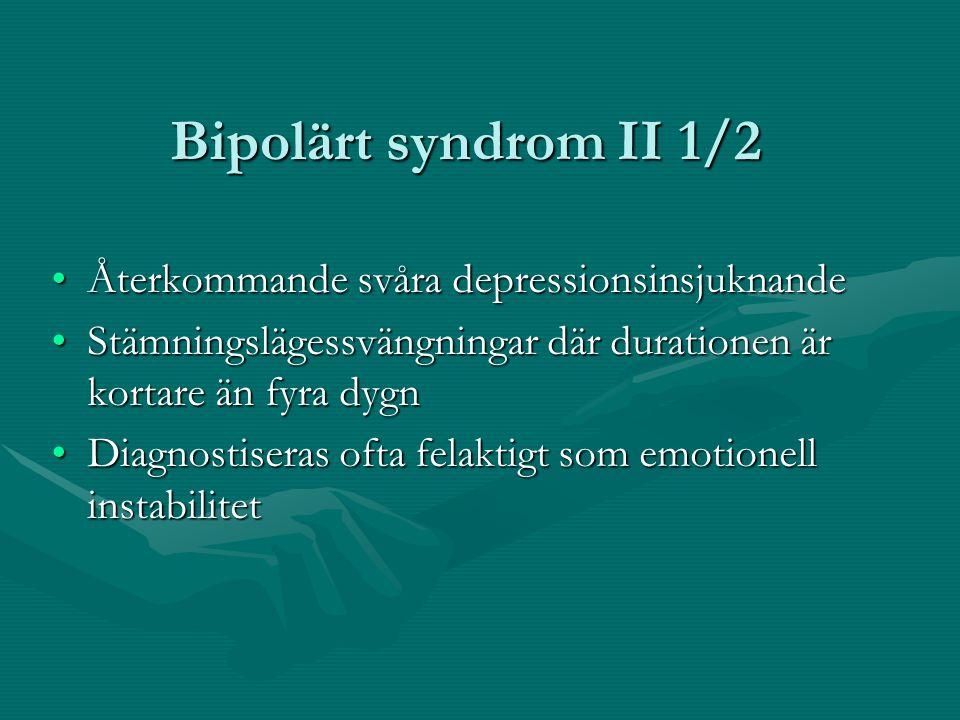 Bipolärt syndrom II 1/2 Återkommande svåra depressionsinsjuknande