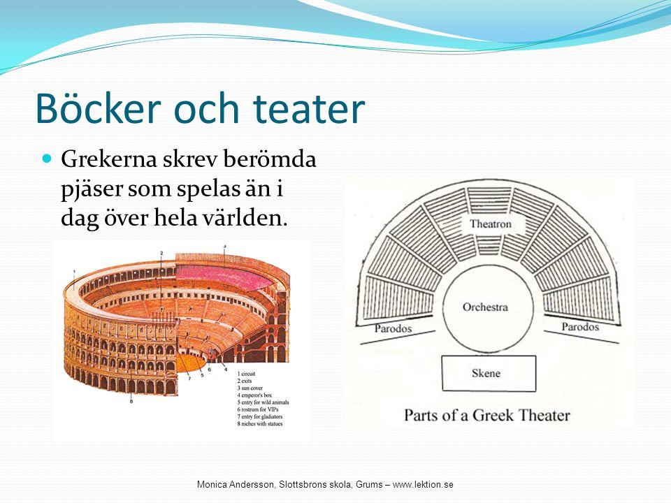 Böcker och teater Grekerna skrev berömda pjäser som spelas än i dag över hela världen.