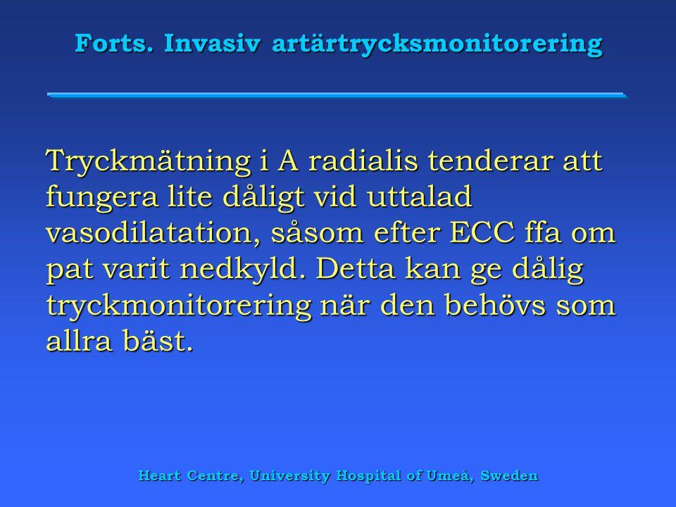 Forts. Invasiv artärtrycksmonitorering