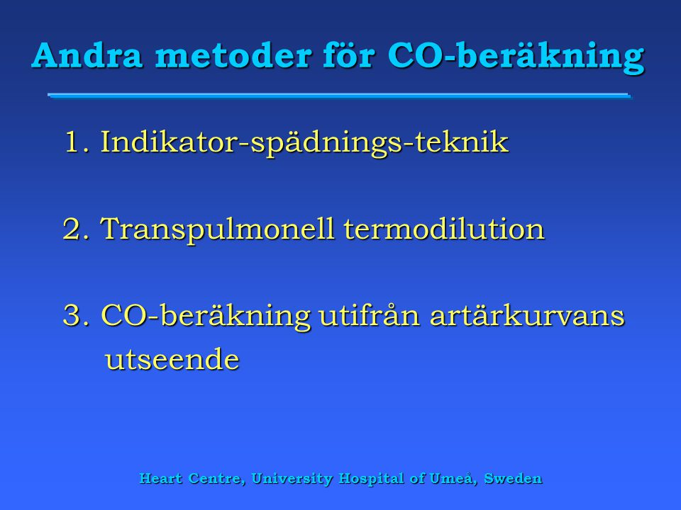 Andra metoder för CO-beräkning