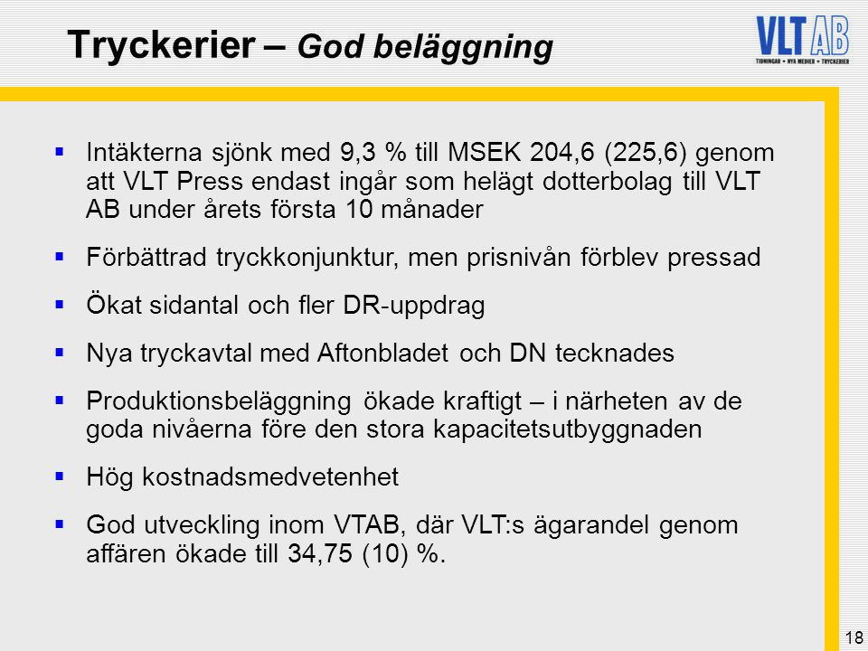 Tryckerier – God beläggning
