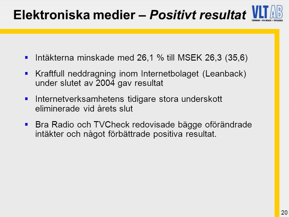 Elektroniska medier – Positivt resultat