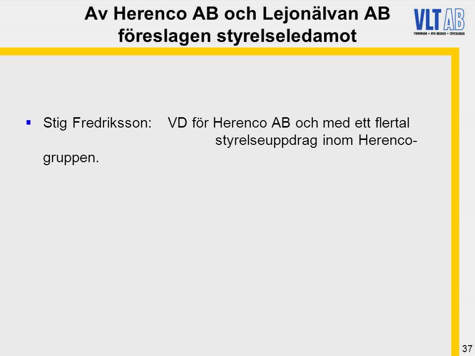 Av Herenco AB och Lejonälvan AB föreslagen styrelseledamot