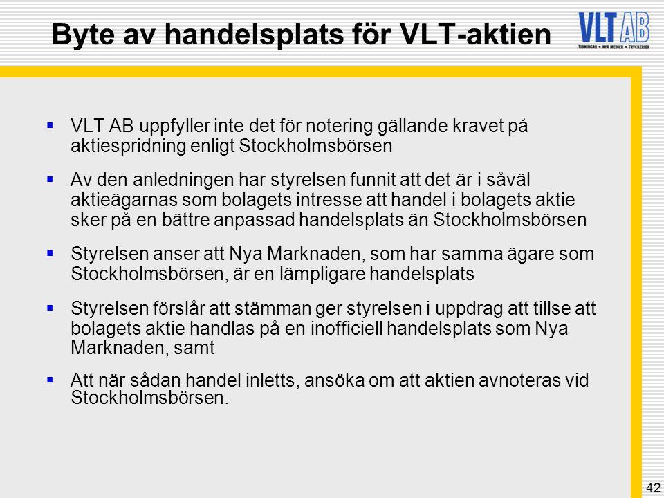 Byte av handelsplats för VLT-aktien