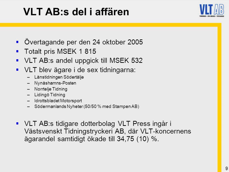 VLT AB:s del i affären Övertagande per den 24 oktober 2005