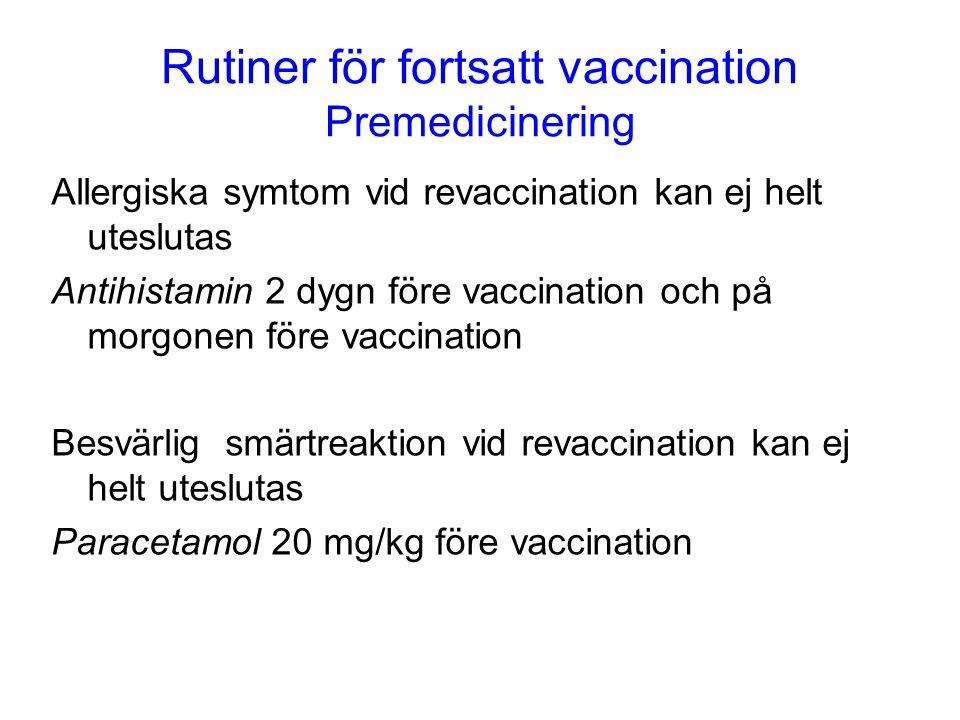 Rutiner för fortsatt vaccination Premedicinering