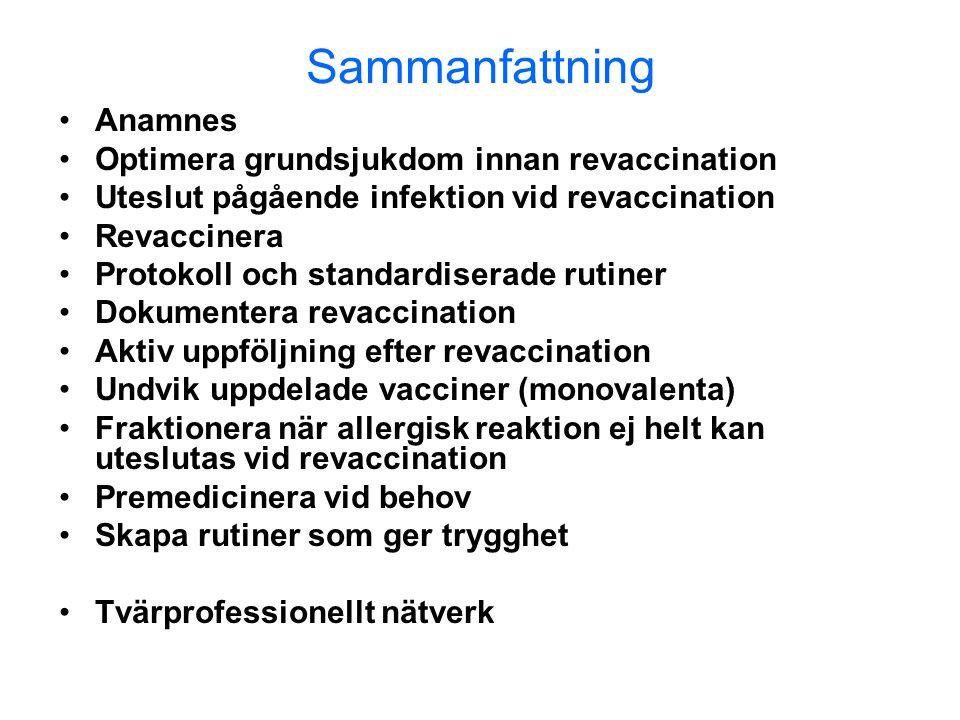 Sammanfattning Anamnes Optimera grundsjukdom innan revaccination