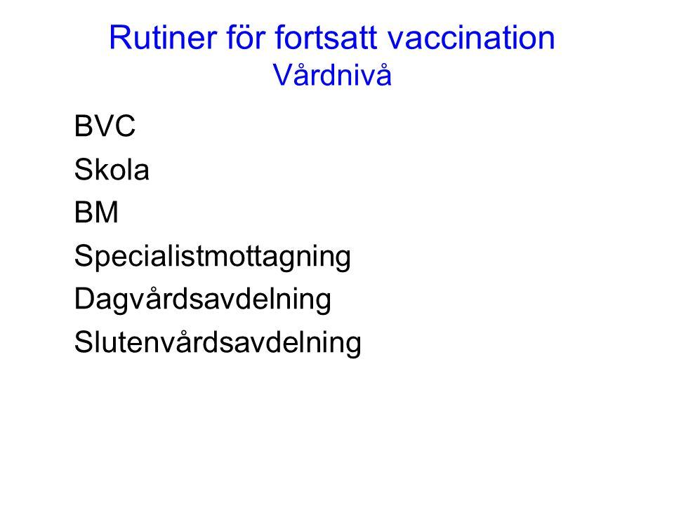 Rutiner för fortsatt vaccination Vårdnivå