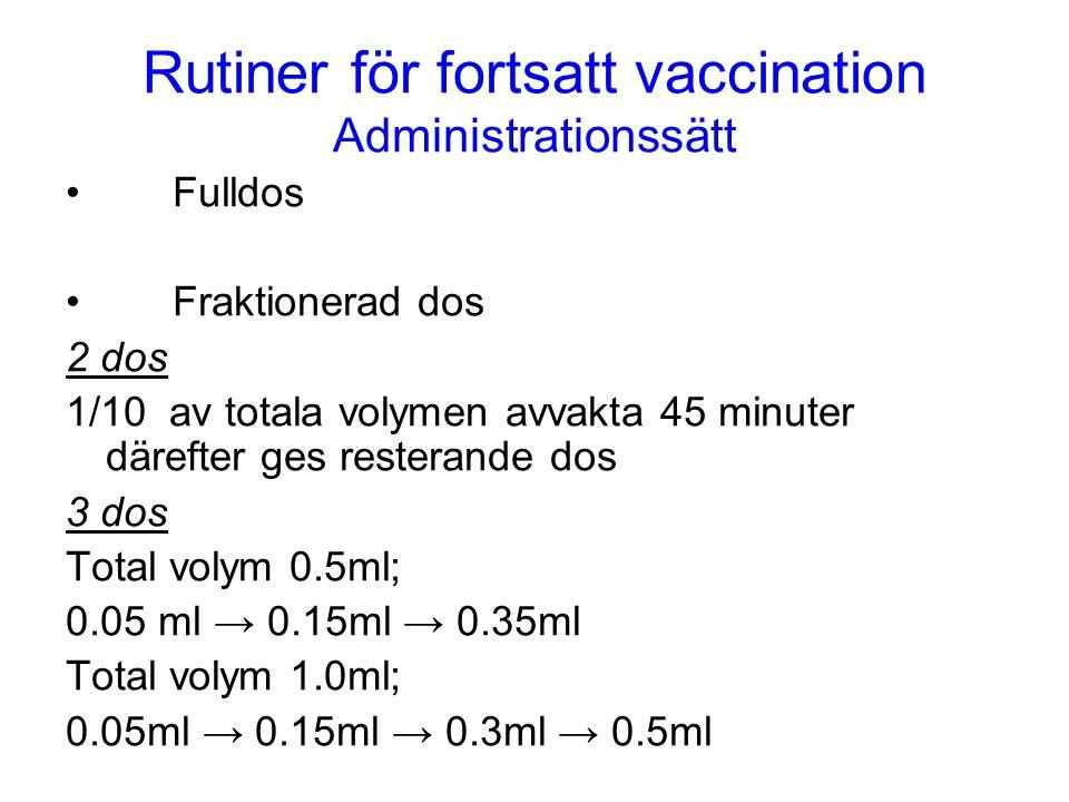 Rutiner för fortsatt vaccination Administrationssätt