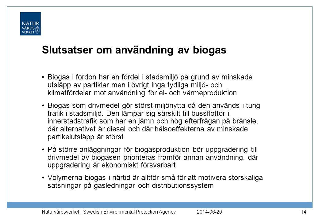 Slutsatser om användning av biogas